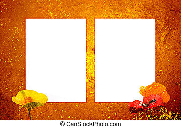 ondergaande zon , frame, grunge, twee