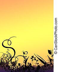 ondergaande zon , gebladerte, grens
