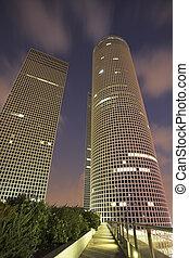 ondergaande zon , gebouwen, prachtig, op grote hoogte