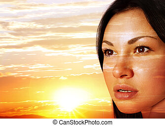 ondergaande zon , gezicht