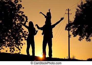 ondergaande zon , hebben, gezin, wandeling