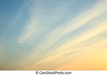 ondergaande zon , helling, blauwe , oranjekleurige hemel