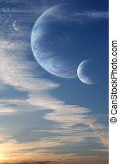 ondergaande zon , in, alien, planeet