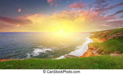 ondergaande zon , in, de, baai, van, de, zee