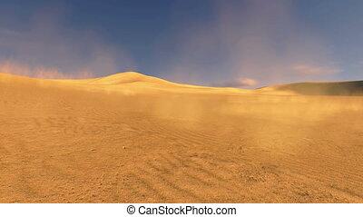 ondergaande zon , in, een, duinen, met, zand, blazen