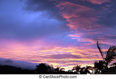 ondergaande zon , kauai