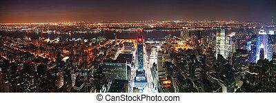 ondergaande zon , manhattan, aanzicht, skyline, luchtopnames, panorama, stad, york, nieuw