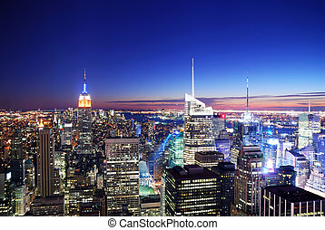 ondergaande zon , manhattan skyline, stad, york, nieuw