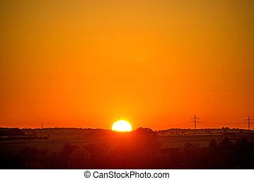 ondergaande zon , mast, nagloei, macht