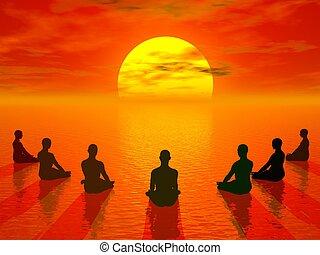 ondergaande zon , meditatie, -, render, 3d
