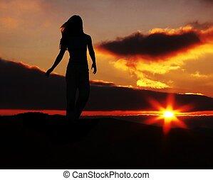 ondergaande zon , meisje, silhouette