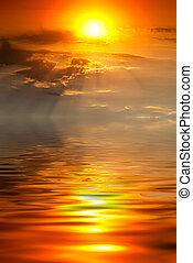 ondergaande zon , met, stralen van zon, op, de, zee