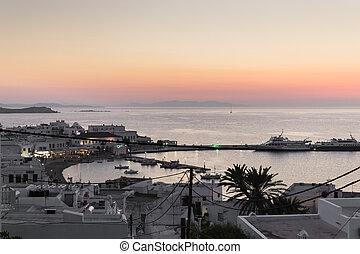 ondergaande zon , mykonos, -, griekenland