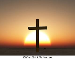 ondergaande zon, Of, Zonopkomst, kruis