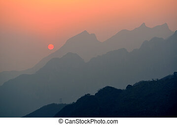 ondergaande zon , op, bergen