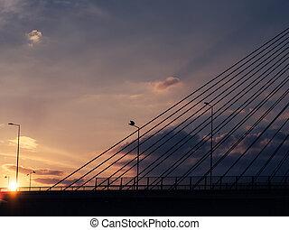 ondergaande zon , op, de, groot, hangbrug, en, snelweg