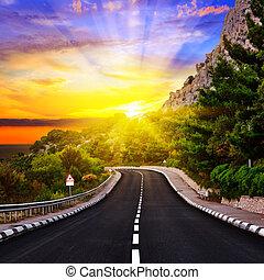 ondergaande zon , op, de, snelweg