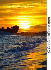 ondergaande zon , op, de, strand
