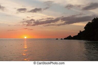 ondergaande zon , op, de, zee, in, 4k