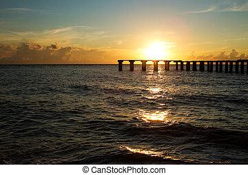 ondergaande zon , op, florida, boca, grande
