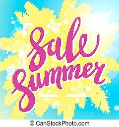 ondergaande zon , op het strand, zomer, verkoop, blauwe achtergrond, met, palm., vector, spandoek