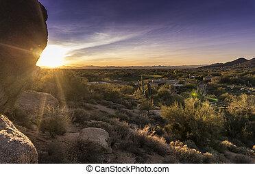 ondergaande zon , op, woestijn, scottsdale, az
