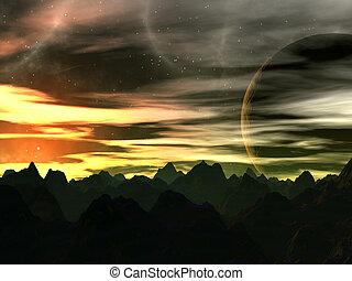 ondergaande zon , op, xilis, 8
