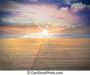 ondergaande zon , overzeese mening