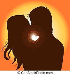 ondergaande zon , paar, silhouette, kussende