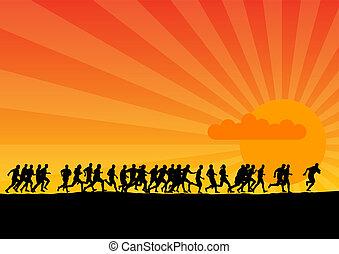 ondergaande zon , rennende