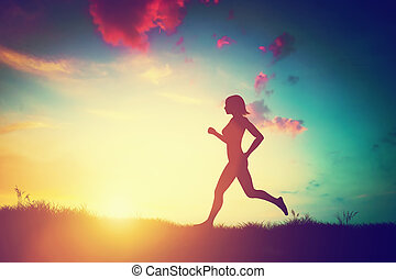 ondergaande zon , rennende , vrouw, silhouette
