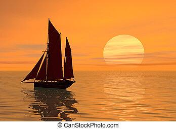 ondergaande zon , scheepje