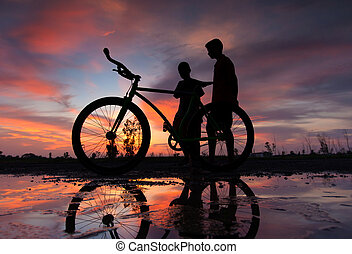 ondergaande zon , silhouette, fiets