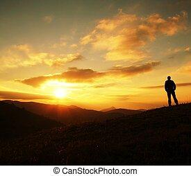 ondergaande zon , silhouette, man