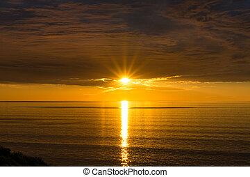 ondergaande zon , spectaculair, achtergrond, natuur