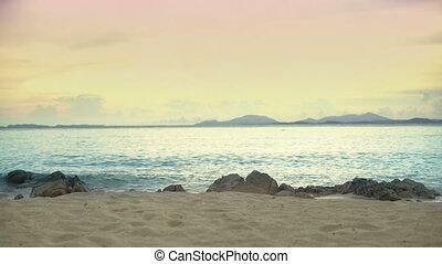 ondergaande zon , tranquil, strandscène