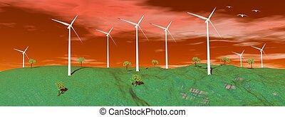 ondergaande zon , turbines, wind, natuur