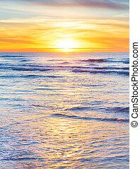ondergaande zon , verticaal, oceaan