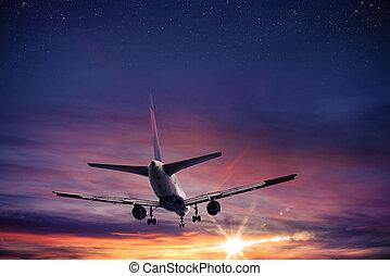ondergaande zon , vliegtuig, vlucht