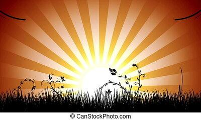 ondergaande zon , vredig