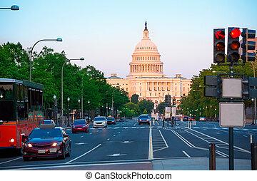 ondergaande zon , washington capitool, congres, dc