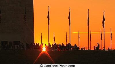 ondergaande zon , washington monument