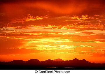 ondergaande zon , woestijn