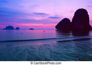 ondergaande zon , zee, landscape