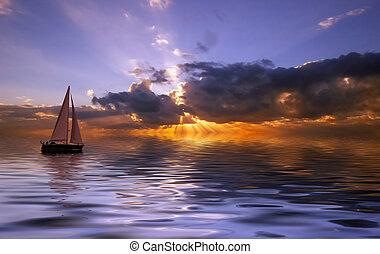 ondergaande zon , zeilend