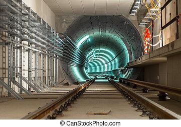 ondergronds, faciliteit, met, een, groot, tunnel
