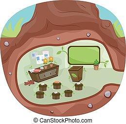 ondergronds, klaslokaal, boompje