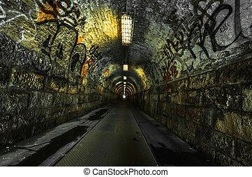 ondergronds, stedelijke , tunnel