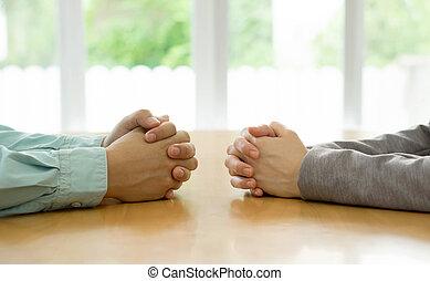 onderhandeling, dialoog, staatsman, kantoor., tussen, twee,...