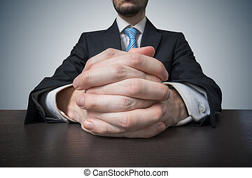 onderhandeling, zittende , transactie, zakenman, hands.,...